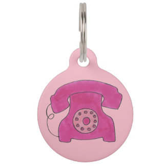 Vintage Hot Pink Retro Rotary Dial Phone Telephone Pet ID Tag
