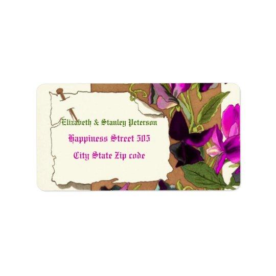 Vintage hot pink sweet pea flowers wedding label
