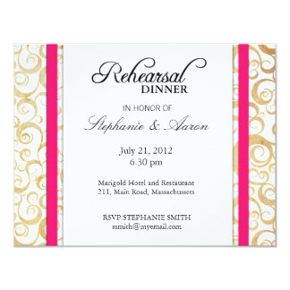 Vintage Hot Pink Swirl Rehearsal Dinner Card