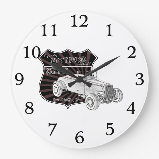 Vintage Hot Rod Garage Sign Clock