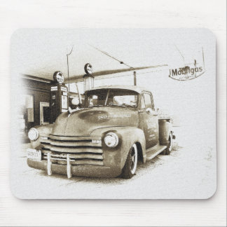 Vintage Hot Rod Pickup and Gas Pumps Mouse Pad