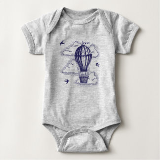 Vintage hot to air balloon baby bodysuit