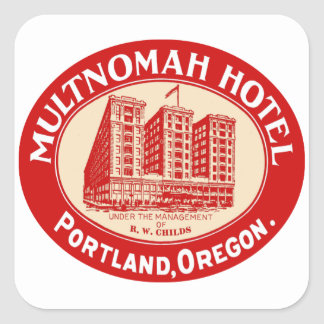 Vintage Hotels Hotel Multnomah Portland OR Square Sticker