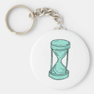 Vintage Hour Glass Drawing Basic Round Button Keychain