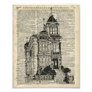 Vintage House Illustration Over Old Book Page Photo Print