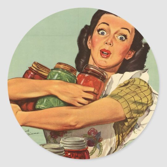 Vintage Housewife Classic Round Sticker