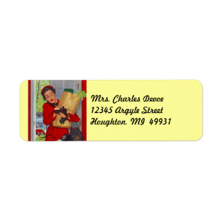 Vintage Housewife Errands run Return Address Label