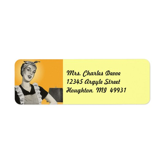Vintage Housewife Vacuuming Return Address Label