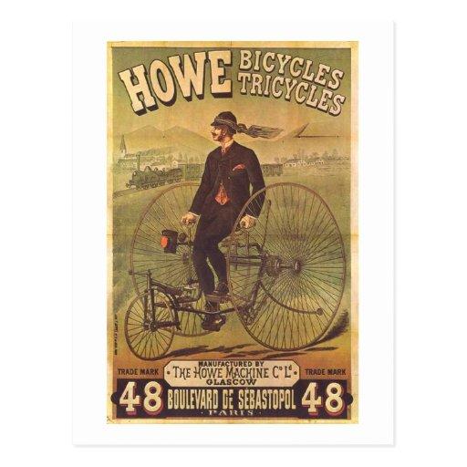 Vintage Howe Bicycles and Tricycles Ad Postcard