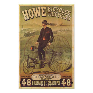 Vintage Howe Bicycles and Tricycles Ad Poster