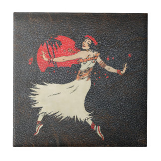 Vintage Hula Dancer | Retro Hawaiian Girl Tile