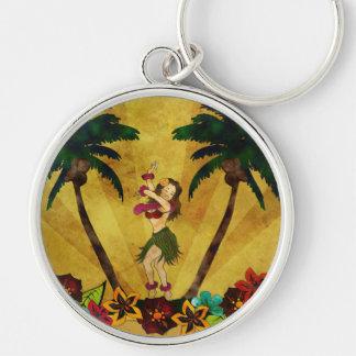 Vintage Hula Girl Palm Trees Key Chain
