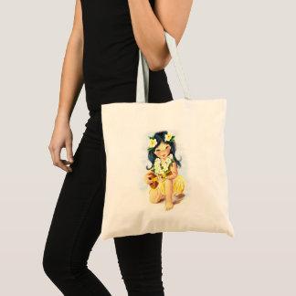 Vintage hula girl tote bag