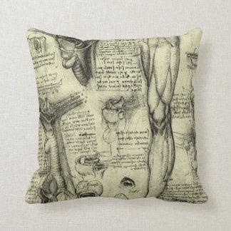 Vintage Human Anatomy Larynx Leg Leonardo da Vinci Throw Pillows