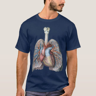 Vintage Human Anatomy Lungs Heart Organs Blood T-Shirt