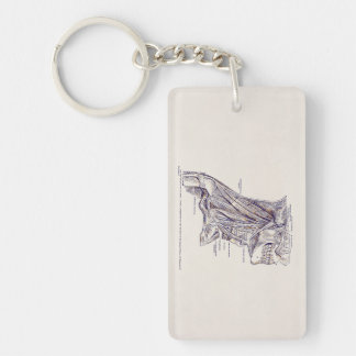 Vintage Human Anatomy Neck Muscles Old Paper Double-Sided Rectangular Acrylic Keychain