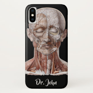 Vintage Human Anatomy Science, Head Throat Nose iPhone X Case
