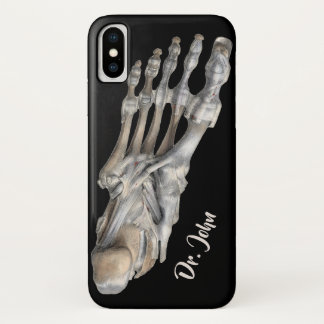 Vintage Human Anatomy Science, Skeleton Feet iPhone X Case