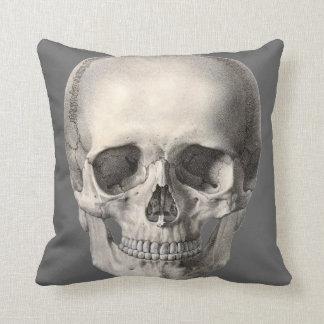 Vintage Human Anatomy Skull, Halloween Skeleton Throw Pillow