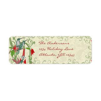 Vintage Humingbird Swirl Christmas Return Address