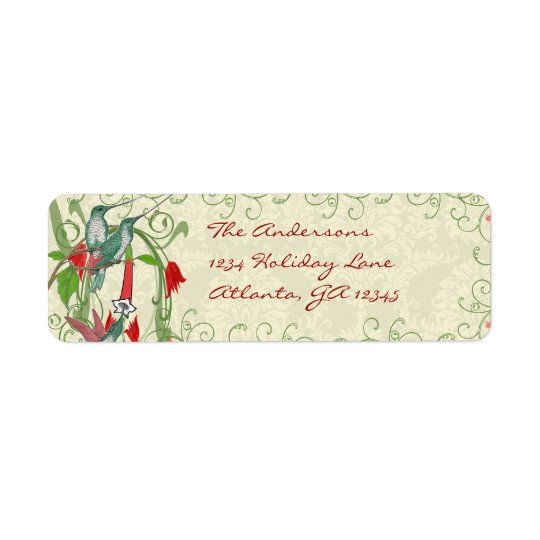 Vintage Humingbird Swirl Christmas Return Address Return Address Label