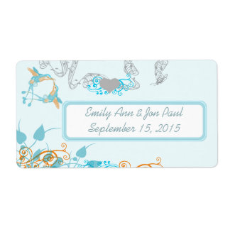 Vintage Hummingbirds Aqua & Coral Labels