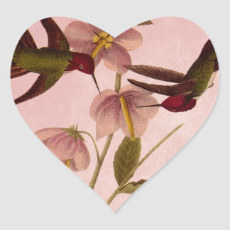 Vintage Hummingbirds Heart Sticker