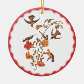 Vintage Hummingbirds with Flowering Trumpet Vine Ceramic Ornament