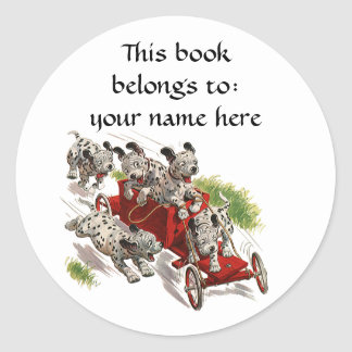 Vintage Humor Cute Dalmatian Puppy Dogs Bookplate Classic Round Sticker