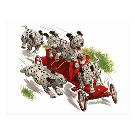 Vintage Humor, Dalmatian Puppy Dogs Fire Truck Post Cards