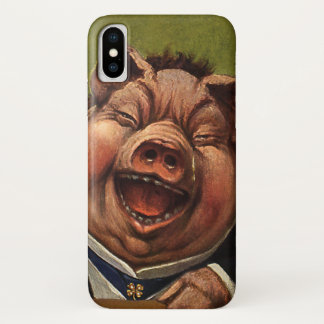 Vintage Humor, Funny Victorian Pig Laughing iPhone X Case