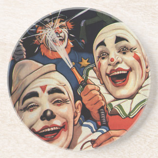 Vintage Humor, Laughing Circus Clowns and Police Coasters