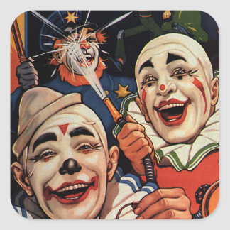 Vintage Humor, Laughing Circus Clowns and Police Square Sticker