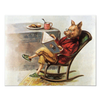 """Vintage Humor, Pig in Rocking Chair Reading a Book 4.25"""" X 5.5"""" Invitation Card"""