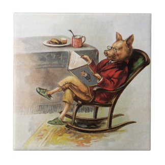 Vintage Humor, Pig in Rocking Chair Reading a Book Tile