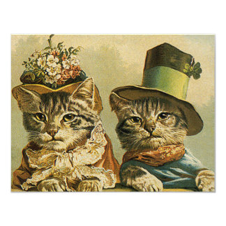 "Vintage Humor, Victorian Bride Groom Cats in Hats 4.25"" X 5.5"" Invitation Card"