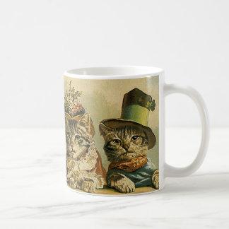 Vintage Humor, Victorian Bride Groom Cats in Hats Coffee Mug