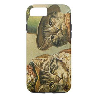 Vintage Humor, Victorian Bride Groom Cats in Hats iPhone 7 Case