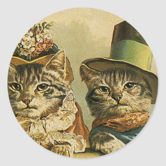 Vintage Humor, Victorian Bride Groom Cats in Hats Round Sticker