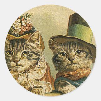 Vintage Humor, Victorian Bride Groom Cats in Hats Round Sticker