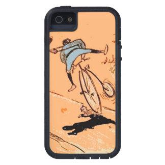Vintage Humorous Man Bicycle Ride Fall Cat Orange iPhone 5 Case