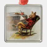 Vintage Humour, Pig in Rocking Chair Reading a Silver-Colored Square Ornament
