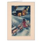 Vintage Hungarian Angel Nativity Christmas Card