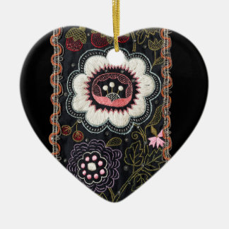 Vintage Hungarian Embroidery on Black Ceramic Heart Ornament