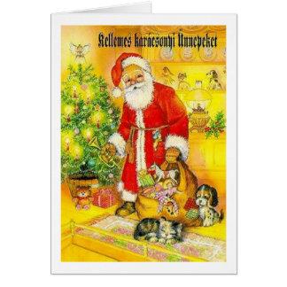 Vintage Hungarian Santa Christmas Card