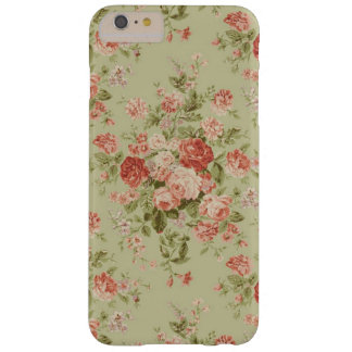 Vintage Hunter Green and Pink Floral Barely There iPhone 6 Plus Case