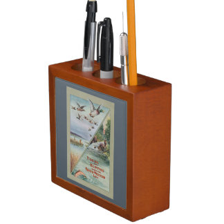 Vintage Hunting and Fishing Poster Desk Organizer