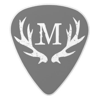 Vintage hunting deer antler monogram guitar picks white delrin guitar pick