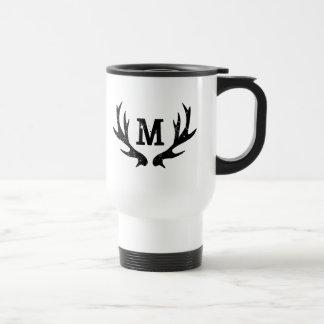 Vintage hunting deer monogram antlers travel mug