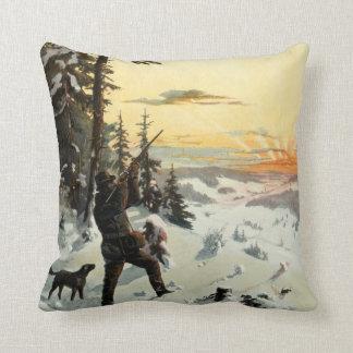 Vintage Hunting Dog Gun Winter Art Decor Pillow